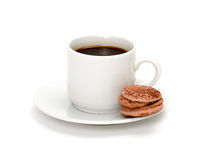 Colorful Macaroon and cup of coffee Stock Image