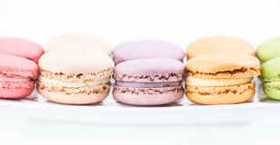Colorful Macaroon on plate close up Royalty Free Stock Photo