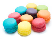 Colorful Macaroon Scattered. On white isolated background Royalty Free Stock Photos