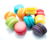 Colorful Macaroon Scattered. On white isolated background Stock Photo