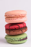 Colorful macaroon on white background. Macaron or Macaroon is s Stock Images