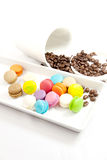 Colorful macaroon in white caramic plate Royalty Free Stock Photography