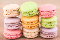 Colorful Macaroon on wooden background  close up Royalty Free Stock Photo