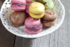 Colorful macaroons in a bowl Stock Image