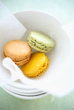 Colorful macaroons in box Royalty Free Stock Images