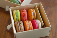 Colorful macaroons in box Stock Image
