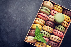 Colorful macaroons in a box Stock Photos