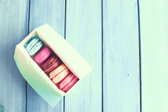 Colorful macaroons in a box Royalty Free Stock Photography