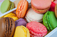Colorful macaroons in box Royalty Free Stock Photos