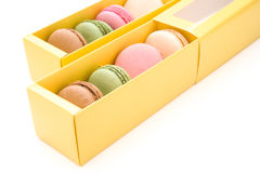 Colorful macaroons in boxes Royalty Free Stock Photo
