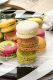 Colorful macaroons close up. Colorful stacked macaroons close up Royalty Free Stock Images