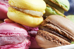 Colorful macaroons, closeup Royalty Free Stock Images