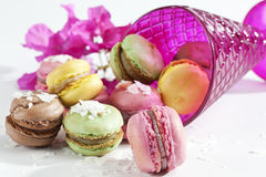 Colorful macaroons with coconut flakes and glass Stock Photo