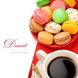 Colorful macaroons and coffee Royalty Free Stock Image