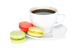 Colorful macaroons and coffee cup Stock Photography