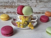 Colorful macaroons in cozy province style. Macaroons in pretty colors on a white wooden background Stock Photo