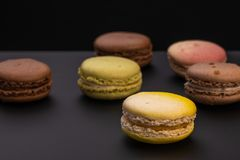 Multicolor Macaroons treats stock images