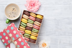 Colorful macaroons in a gift box Royalty Free Stock Image