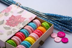 Colorful macaroons in a gift box with flowers and buttons on gray background. Sweet macarons. stock photos