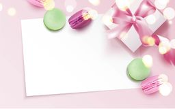Colorful macaroons and gift box on pink background. Vector illustration Royalty Free Stock Images