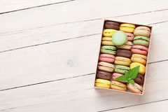 Colorful macaroons in a gift box Stock Photos