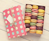 Colorful macaroons in a gift box Royalty Free Stock Images