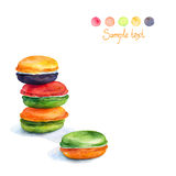 Colorful macaroons isolated. Watercolors Painting. Stock Photography