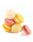 Colorful macaroons isolated on white Royalty Free Stock Image