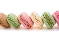 Colorful macaroons line up with clipping path Royalty Free Stock Photo