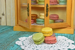 Colorful macaroons with pantry Stock Photo