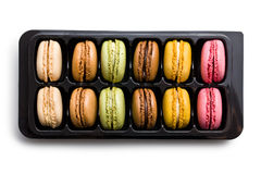 Colorful macaroons in plastick box Royalty Free Stock Images