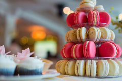 Colorful macaroons. On plate candy bar Royalty Free Stock Photos