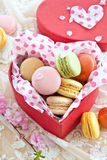 Colorful macaroons in red box Royalty Free Stock Photos