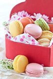 Colorful macaroons in red box Stock Photography