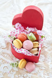 Colorful macaroons in red box Stock Photo