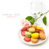 Colorful macaroons and rose Stock Photography