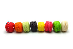 Colorful macaroons sort by domino effect Stock Photos