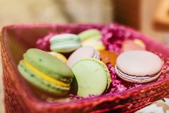 Colorful macaroons. Sweet macarons with copy space for text. Top stock image