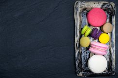 Colorful macaroons, Sweet and tasty for cooking and restaurant menu,Top view royalty free stock images
