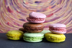 Colorful macaroons variety closeup. A french sweet delicacy. Dessert Royalty Free Stock Photography