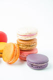 Colorful macaroons on white background. Colorful of macaroons on white background royalty free stock photo