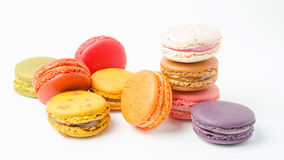 Colorful of macaroons on white background. Colorful macaroons on white background stock photo