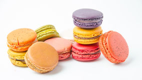 Colorful of macaroons on white background Stock Photos
