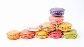 Colorful of macaroons on white background. Colorful macaroons on white background stock photos