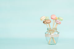 Colorful macaroons on wooden sticks Stock Photos