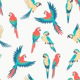 Colorful macaw parrot seamless pattern royalty free illustration