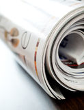 Colorful magazines. Stack of open colorful magazines - close-up Stock Photo