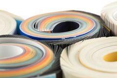 Colorful magazines close up photo. Rolled up composition Stock Photography