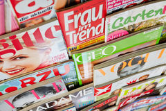 Colorful magazines in a shelf. Many different colorful magazines in a shelf for sale in Germany Royalty Free Stock Image