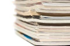 Colorful magazines up close. Shot on white background Stock Image